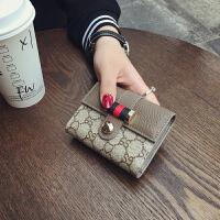 欧美印花皮短款小卡包女多卡位银行卡夹驾驶证包2017新款潮 深灰色 少量现货