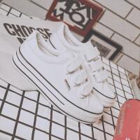 厚底魔术贴帆布鞋女懒人内增高布鞋百搭原宿韩版学生板鞋