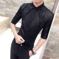 衬衣男短袖 修身韩版 帅气青少年学生潮流衬衫7七分中袖男款
