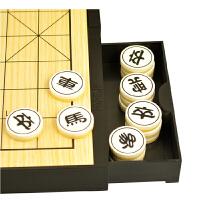 大棋盘2合1十九路围棋中国象棋套装磁性折叠双面棋实木象棋 木制双面棋盘