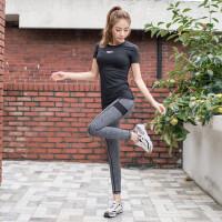 秋冬新款瑜伽服套装跑步女修身显瘦运动户外女短袖健身三件套