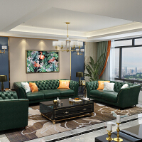 美式轻奢真皮沙发头层牛皮客厅家具整装现代简约三人皮艺沙发组合
