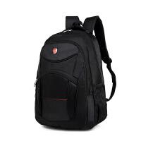 新款男士双肩包休闲电脑背包女韩版潮高中大学生大容量书包旅行包 黑色
