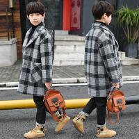 冬装男孩冬季加厚中长款夹棉毛呢外套儿童装男童呢子大衣