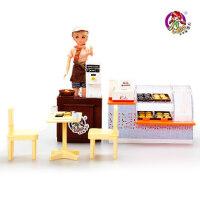 乐吉儿面包屋洋布芭比娃娃套装礼盒正品2014可儿女孩玩具