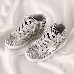 乌龟先森 儿童板鞋 女童春季新款韩版小学生亮片中帮做旧橡胶底休闲步鞋子中童时尚女孩星星潮流童鞋