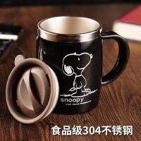 史努比创意喝水马克杯办公室水杯茶杯带盖勺咖啡杯家用不锈钢杯子