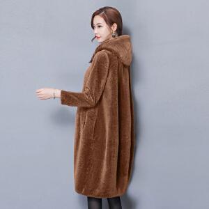 纤纯伊羊剪绒大衣女新款2017冬季斗篷显瘦中长款连帽皮草外套