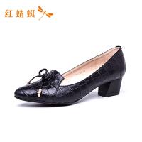 红蜻蜓新款百搭黑色中跟单鞋女粗跟四季经典职业商务高跟鞋