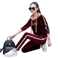 金丝绒运动套装女春秋2018新款时尚显瘦宽松连帽卫衣休闲两件套潮