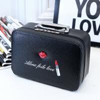 时尚简约化妆包箱水洗皮嘴唇化妆包卡通款化妆箱口红图案化妆包箱 银色