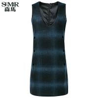 森马连衣裙女冬季新款女装韩版修身显瘦复古格纹毛呢裙子潮