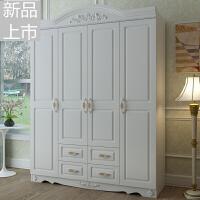 韩式现代板式三四门衣柜 卧室木质衣橱组装欧式五六门大衣柜子定制 白色(送货安装)