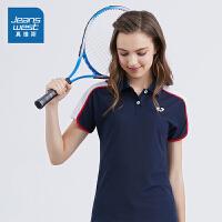 真维斯POLO衫女2019夏装新款女士短袖翻领T恤运动跑步速干网球服
