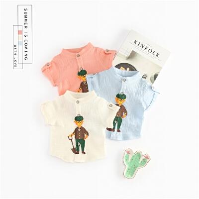 男童韩版纯棉短袖衬衫宝宝白衬衣小男孩衣服婴儿夏装上衣0潮1-3岁 发货周期:一般在付款后2-90天左右发货,具体发货时间请以与客服协商的时间为准