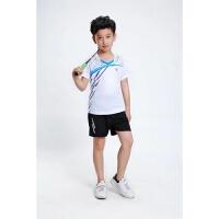 儿童羽毛球服套装圆领运动情侣亲子球衣定制乒乓球服短袖速干网球 白色 3859儿童白色
