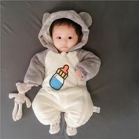女婴儿衣服3个月男宝宝哈衣爬服加厚新生儿连体衣秋冬季装