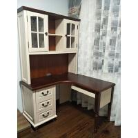 北美枫情地中海全实木书房美式家具橡木做旧转角书桌带书架电脑桌 全实木1.2米左抽左架书桌 全实木 是