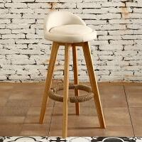 实木吧台椅现代简约酒吧椅家用吧凳前台椅子靠背旋转高脚凳子