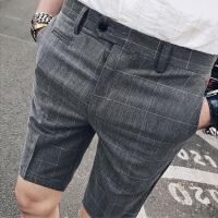 夏季男士五分裤修身韩版商务休闲格子西裤潮流发型师显瘦短裤中裤