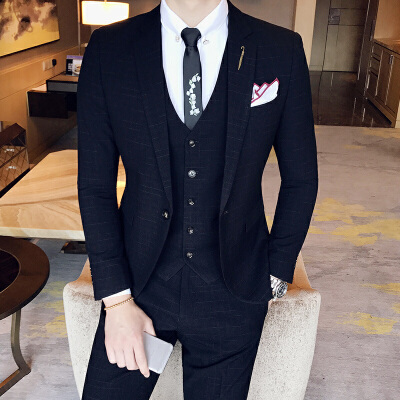 春款西服套装男士三件套结婚礼服修身商务正装英伦格子西装男套装 发货周期:一般在付款后2-90天左右发货,具体发货时间请以与客服协商的时间为准