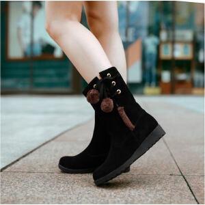 O'SHELL法国欧希尔新品冬季180-A99-1韩版磨砂绒面内增高女士短靴雪地靴