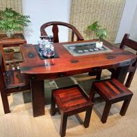 老船木茶桌椅组合中式功夫茶台实木船木家具阳台户外茶几