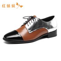红蜻蜓正品女鞋新款拼接英伦学院风小皮鞋厚底百搭粗跟系带单鞋女