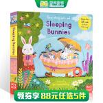 顺丰发货 英文原版 Sing Along with Me: Sleeping Bunnies 纸板书 操作玩具书带机关