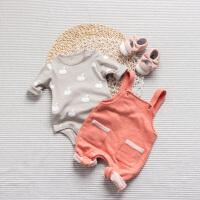 婴儿连体衣服宝宝新生儿季0岁5个月三角长袖薄款哈衣春款