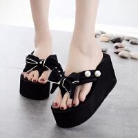 韩版拖鞋女夏时尚外穿夹脚可爱厚底夹拖女高跟个性沙滩拖鞋人字拖