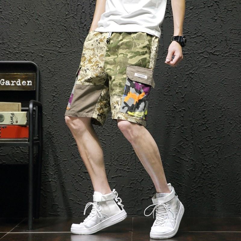 短裤男迷彩工装潮流夏天宽松休闲五分裤原宿风夏季潮牌嘻哈沙滩裤 迷彩色 发货周期:一般在付款后2-90天左右发货,具体发货时间请以与客服协商的时间为准