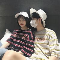 情侣装短袖T恤夏装新款韩版宽松条纹印花圆领半袖男女上