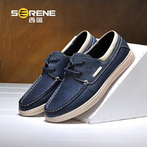 西瑞休闲皮鞋男士英伦青年软面皮板鞋潮流套脚帆船鞋新款6336