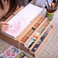 中盛画材 木质画架画盒榉木抽屉桌面油画箱素描彩铅收纳盒画画画板画架套装支架式素描写生画板美术艺考工具