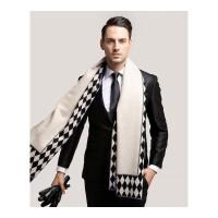 男士围巾冬季仿羊绒围巾柔顺商务英伦风菱形格子加厚围脖 菱形格子