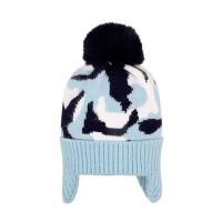 宝宝户外护耳帽针织毛线帽男女童套头帽保暖毛球帽可爱
