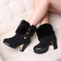 彼艾正品冬季女靴 超舒适雪地靴甜美金属装饰短靴粗高跟毛毛靴