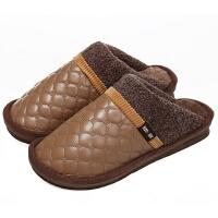 新园秋冬季男女棉拖鞋 情侣保暖棉鞋 半包跟棉拖鞋1603 男款咖啡色