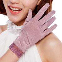 女蕾丝薄夏季遮阳手套蕾丝婚冰丝触控短款抗UV手套防晒