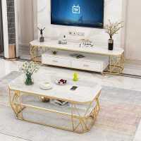 北欧电视柜茶几组合现代简约客厅钢化玻璃电视机柜大理石电视柜