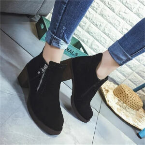 ELEISE美国艾蕾莎新品168-7-50韩版磨砂绒面粗跟中高跟女士短靴