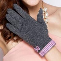 可爱保暖淑女开车千鸟格蝴蝶结手套冬女分指触摸屏手套
