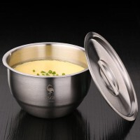德国全304不锈钢碗 蒸蛋碗家用带盖甜品拉面碗大碗蒸饭汤盅炖盅厨房用品钢碗