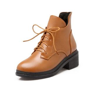 ELEISE美国艾蕾莎新品秋冬150-D-3韩版超纤皮粗跟中高跟女士女靴短靴