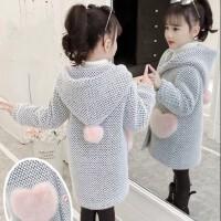 女童毛呢外套秋冬2019新款儿童装冬装水貂绒加厚大童呢子大衣