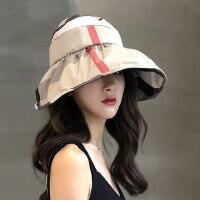 韩版百搭大沿骑车折叠防晒太阳帽子出游遮脸防紫外线遮阳帽女