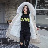 棉衣 女士长袖立领棉服2020冬季新款韩版女式加绒毛领派克服学生加厚宽松保暖外套