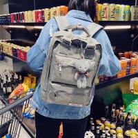 牛津布双肩包女韩版书包校园初中学生包全防水尼龙背包电脑包14寸 灰色 送挂件