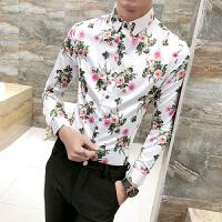 花衬衫男长袖潮男 印花 修身青少年个性潮流衬衣男土夜店帅气衣服